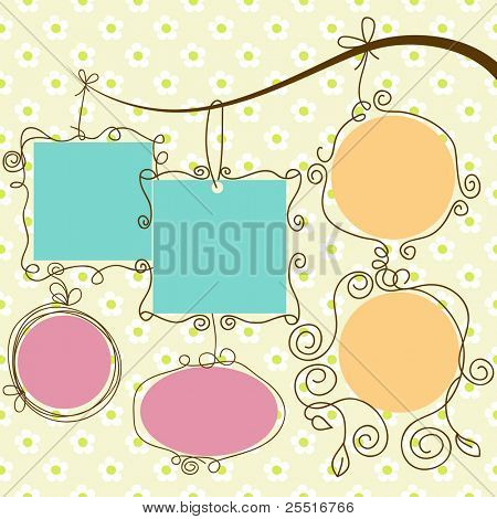 Cute frames hanging, retro style