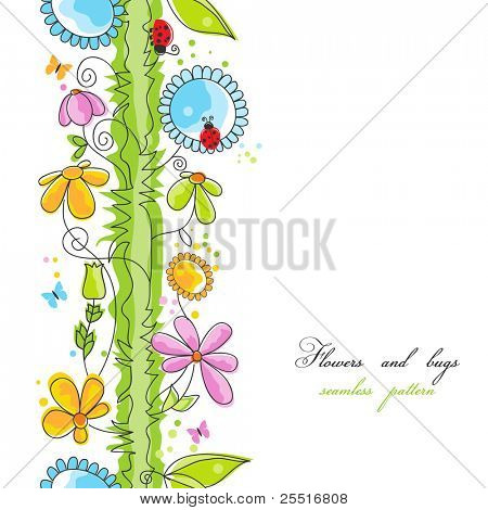 Blumen und Bugs Cartoon seamless pattern