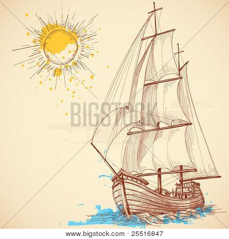 Vector sailing boat