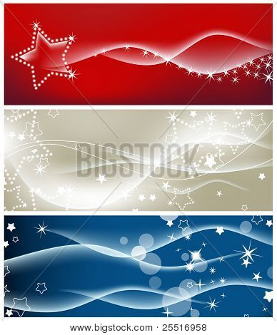 Light waves and sparkling stars vector backgrounds
