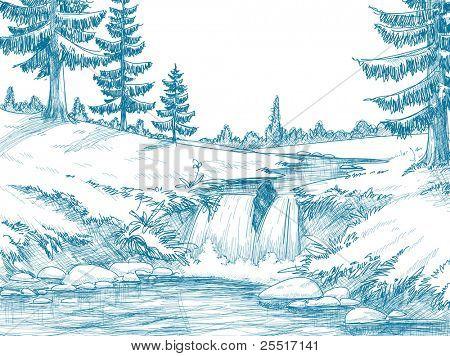 Dibujo a lápiz río montaña