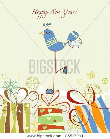 New year card, gift boxes and cute blue bird