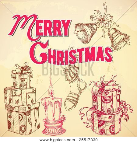 Retro Christmas card Merry Christmas lettering and hand drawn gift boxes, candle, stocking and bells vector illustration