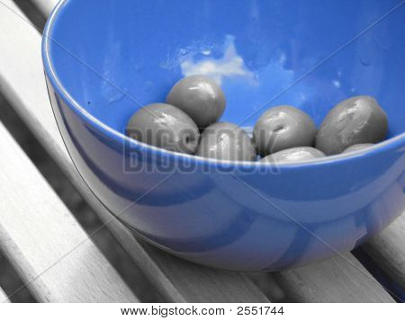 Olives Ina Blue Bowl