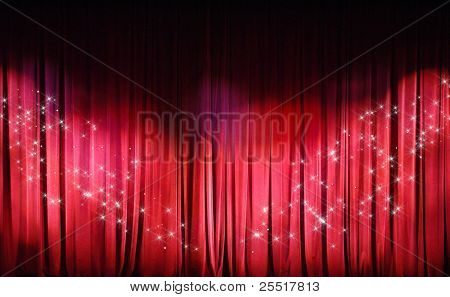 Red Curtains background. Theater curtains background.