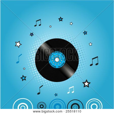 Music background with vinyl plate