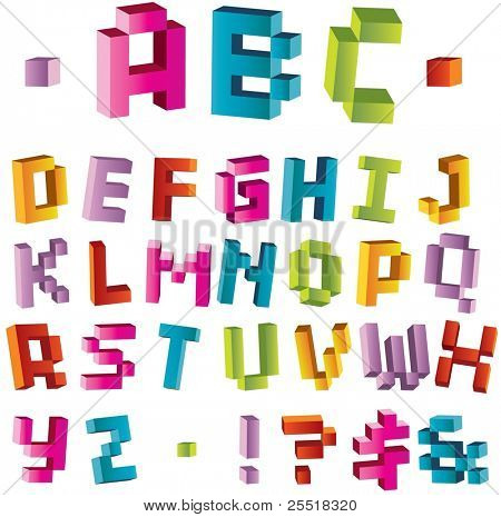 3d bright pixel alphabet, visit my portfolio to see vector variant