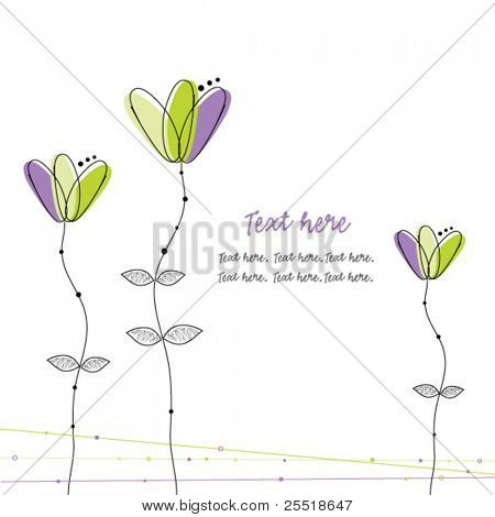 Doodles, green and violet flowers