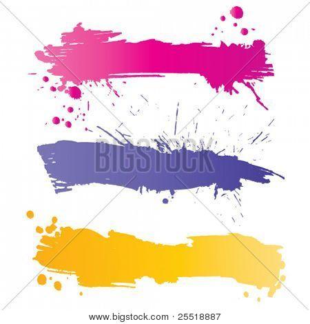 Coloridos carteles Grunge con salpicaduras de tinta