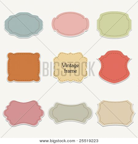 Vector set of  stickers, vintage frames