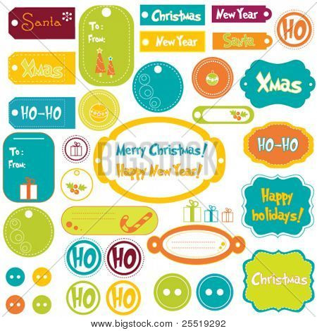 Set of Christmas design elements