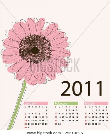 Gerbera Daisy flower calendar 2011 , retro style vector