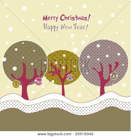 Winter trees, xmas illustration