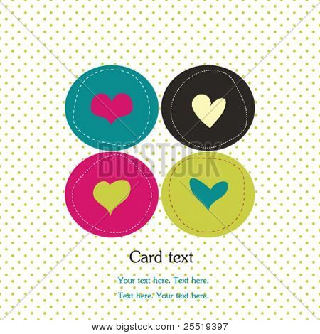 Card with colorful hearts and polka dot background
