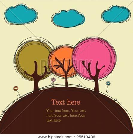 Lustig doodle Bäume und Wolken, Vektor-Karte