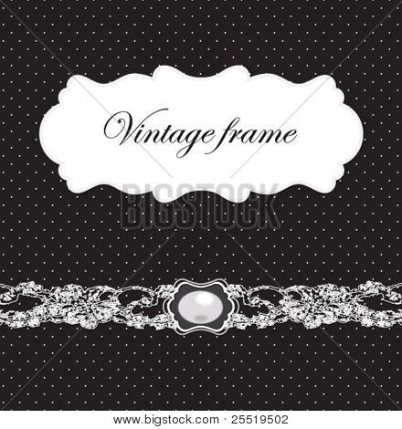 Vintage card with brooch and polka dot background