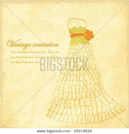Old vintage vector invitation, wedding card