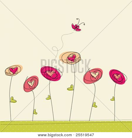 Greeting card with doodle flowers and butterfly