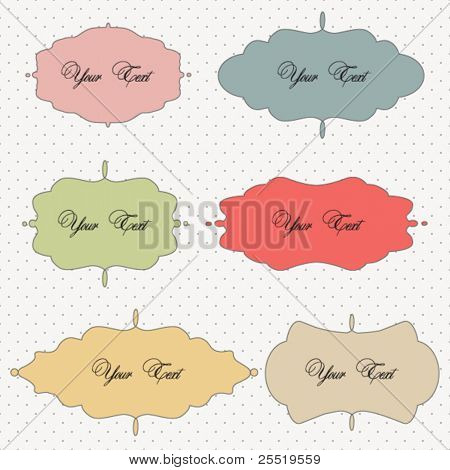 Vector set of vintage frames on polka dot background