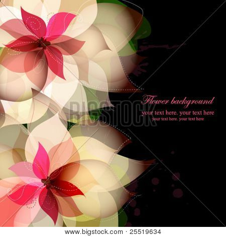 Beautiful flower background with splashes on black