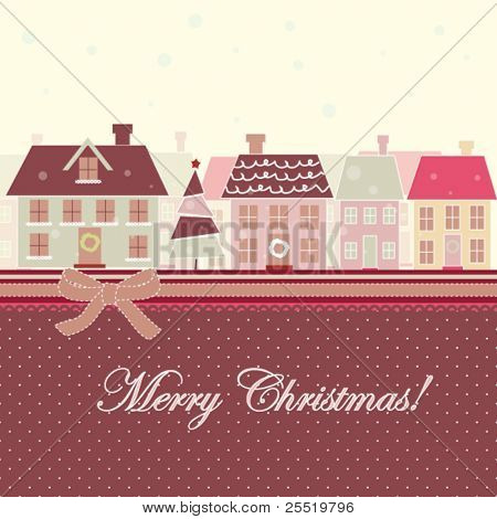 Christmas card with houses