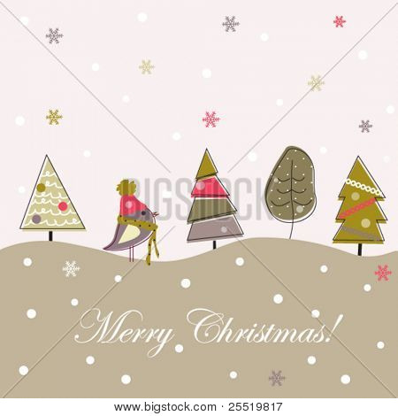 Cartoon Christmas grey background, doodle trees