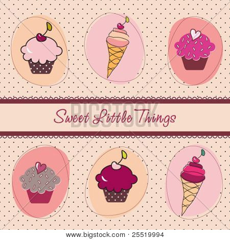 Set of sweet  cupcakes and ice-creams