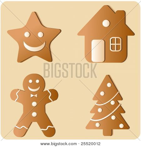 Gingerbread Cookies Set, vector illustration of decorative Christmas ornaments
