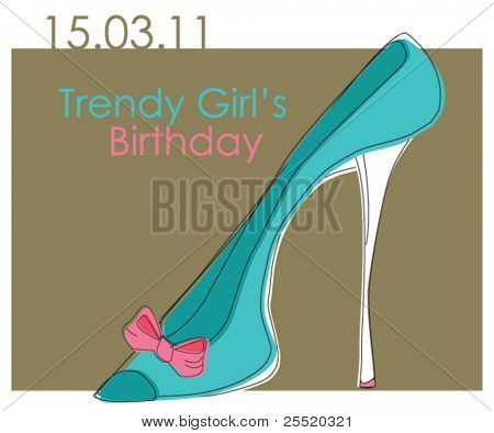 Card with trendy shoe, birthday card