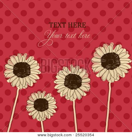 Retro card with Gerbera Daisy flowers