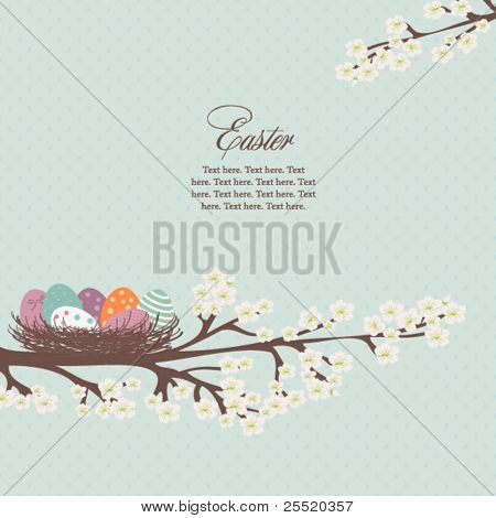 Easter card with nest of easter eggs