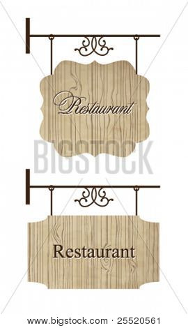 Wooden restaurant door signs