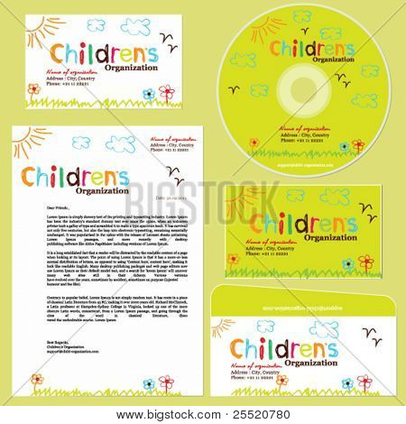 Children's organization template, childish doodle set