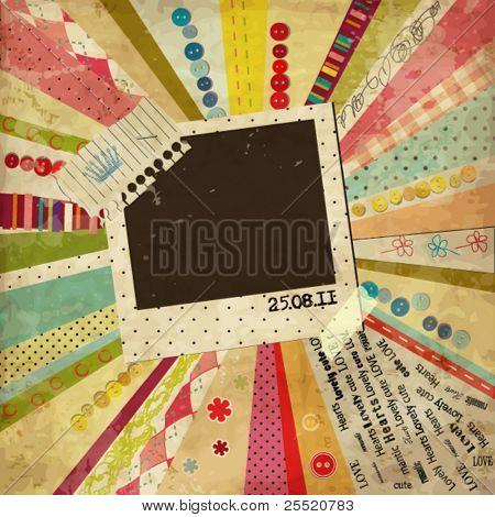 Plantilla de diseño vintage de angustiados gastada con corona y espacio en blanco para su foto o texto de chatarra