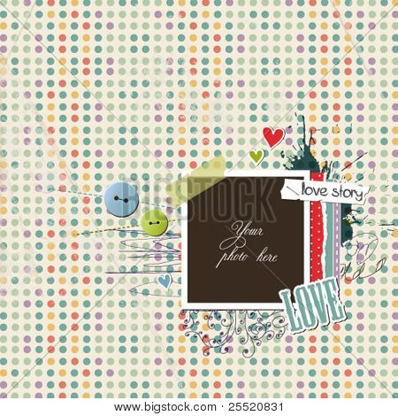 Romantic scrap template on paper with circles