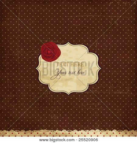Vintage brown card with rose