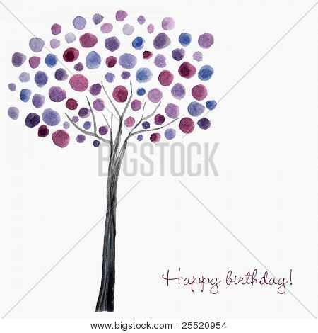 Watercolor tree, birthday card