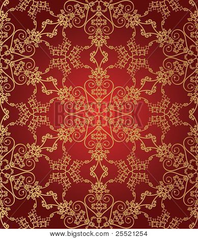 Seamless gold and red snowflake pattern