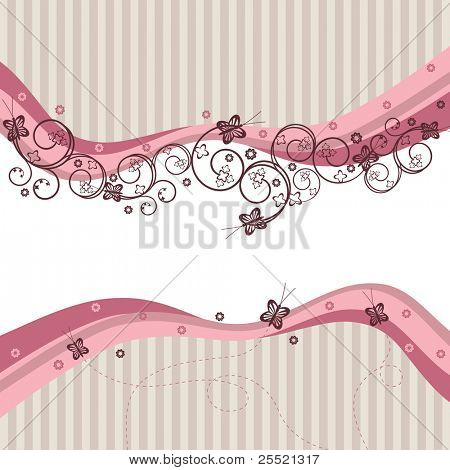 Pink waves, swirls and butterflies