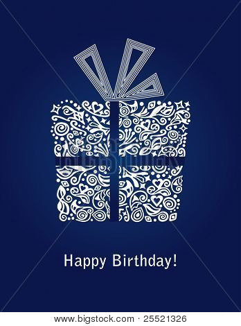 Detailed blue Happy Birthday card