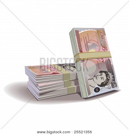 Pfund-Banknoten vector Illustration, finanzielle Thema