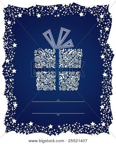 Caja de regalo en un marco de Navidad frosty