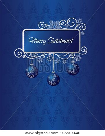 Blue & silver Christmas card illustration
