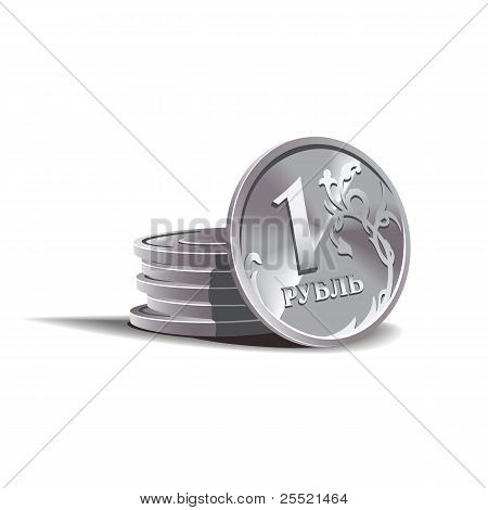 ruble  coins vector illustration, financial theme