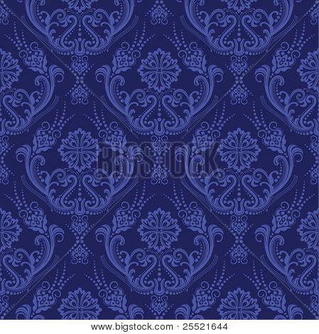 Luxury blue floral damask wallpaper