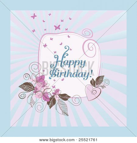Cute blue and pink happy birthday card. This image is a vector illustration. Please visit my portfolio for more illustrations.