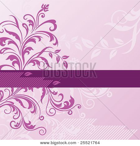 Pink floral background with banner