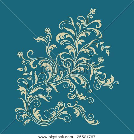 Floral ornament on turquoise background. This image is a vector illustration.