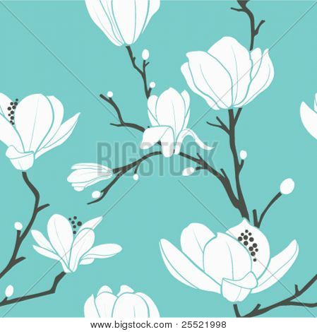 seamless vector pattern with magnolia