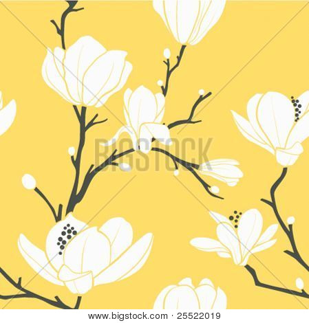 seamless vector pattern with magnolia flowers